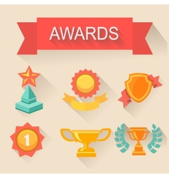 Trophy and awards icons set flat style vector