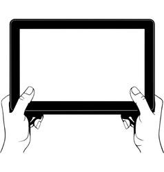 Hand holding digital tablet pc vector