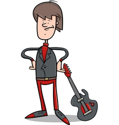 Rock man with guitar cartoon vector
