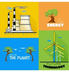 Ecology windmills factories pollution vector