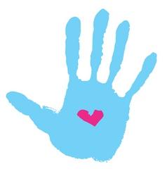 Handprint with heart vector
