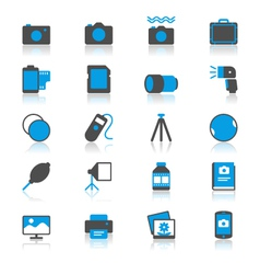 Photography flat with reflection icons vector