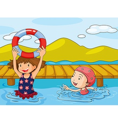 Kids enjoying the refreshing water vector