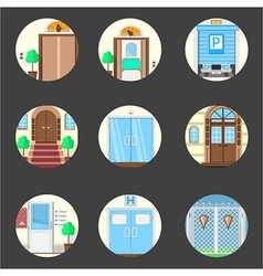 Colored icons collection of entrance doors vector