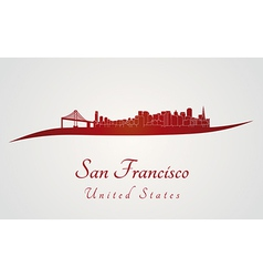 San francisco skyline in red vector
