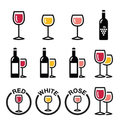 Wine types - red white rose icons set vector