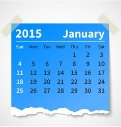 Calendar january 2015 colorful torn paper vector
