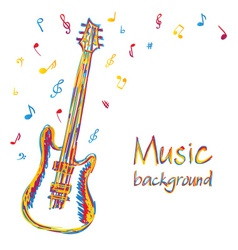 Guitar music background with notes vector