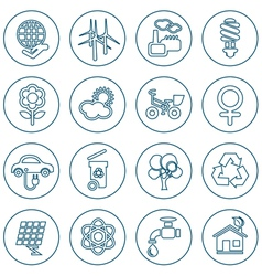 Thin line ecology icons set vector