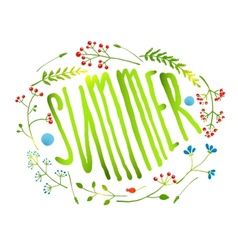 Rustic wreath with summer sign card on white vector