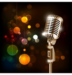 Vintage microphone on abstract background vector