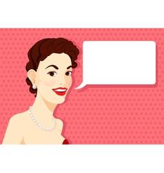Vintage brunette girl is speaking vector