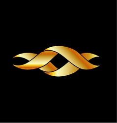Twisted ribbon- abstract logo in gold color vector