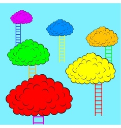 Color clouds with stairs vector