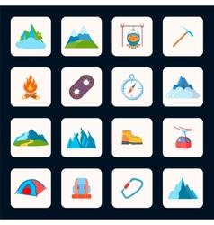 Mountain icons flat vector