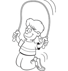 Cartoon girl jumping rope vector