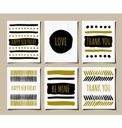 Black gold and white hand drawn greeting cards set vector
