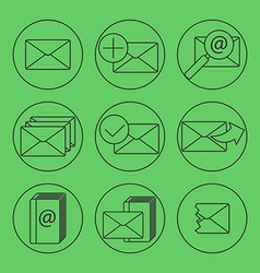 E-mail thing line icons set vector