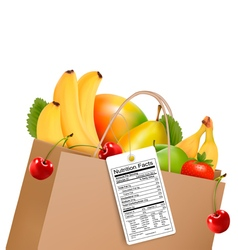 Shopping bag with healthy fruit and a nutrient vector