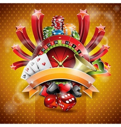 On a casino theme with roulette wheel vector