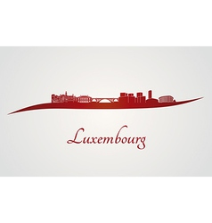 Luxembourg skyline in red vector
