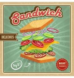 Salami sandwich poster vector