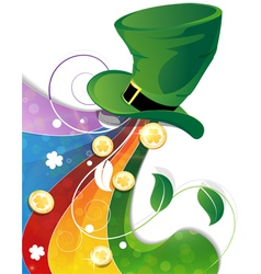 Rainbow and leprechaun green hat vector