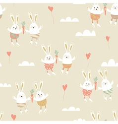Romantic seamless pattern with cute rabbits in vector