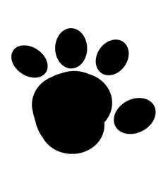 Black rounded paw print vector