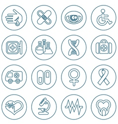 Thin line medical icons set vector