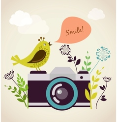 Old vintage camera with bird vector