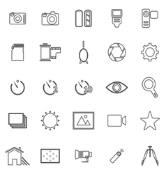 Camera line icons on white background vector