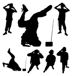 Male break dance pose silhouettes vector