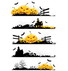 Grunge halloween banner set vector