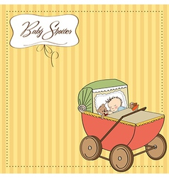 Baby boy shower card with retro strolller vector