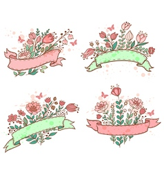 Floral hand drawn banners vector