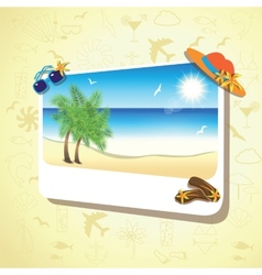 Picture of the sand beach landscape with palm vector