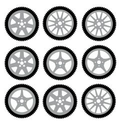 Automotive wheel with alloy wheels vector