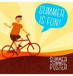 Cute summer poster - bike riding with speech vector
