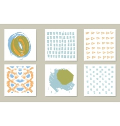 Hand-drawn collection of 6 journaling cards vector