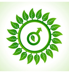 Eco male symbol inside the leaf background vector
