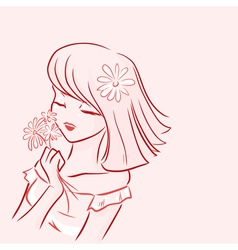 Girl and daisy vector