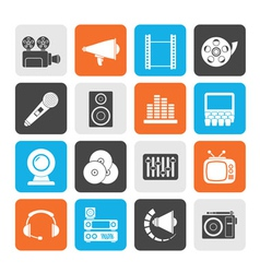 Silhouette audio and video icons vector
