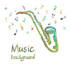 Saxophone music background with notes vector