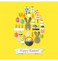 Easter holiday greeting card with flat icons set vector