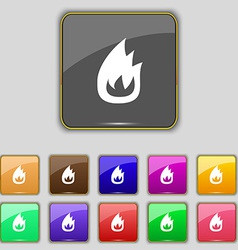 Fire flame icon sign set with eleven colored vector