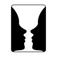 Faces or vase- of two faces like a vase vector