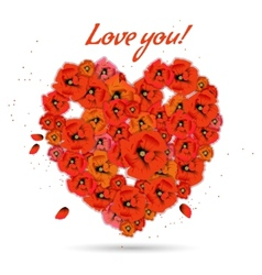 Floral decorative heart with poppies vector