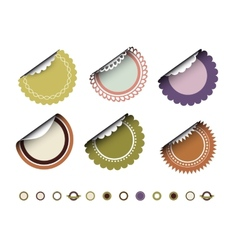 Collection of round vintage labels vector