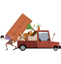 Woman moving vector